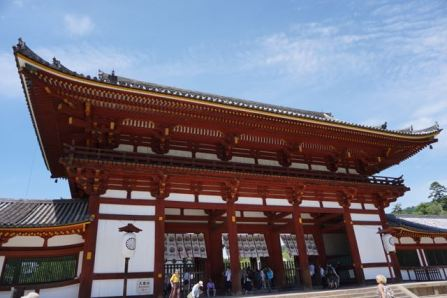 The inner gate is decked out in bright red beams and white walls