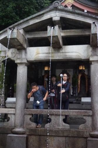 Me drinking from the water at Otowa no taki