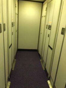 There is a concentration of 5 lavatories at the rear of the aircraft