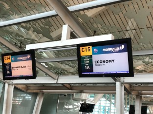 Check-in counter for passengers flying Economy Class