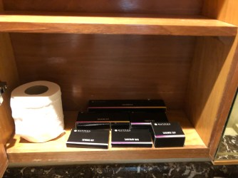 Toilet amenities are found in the cabinet