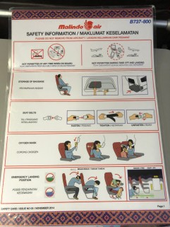Aircraft safety card