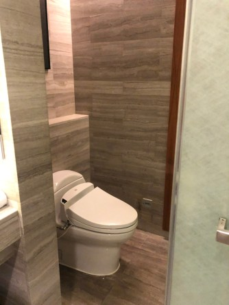 Toilet with heated seat and bidet inside the bathroom