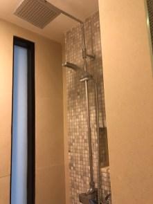 Walk-in shower has rain shower and regular shower head