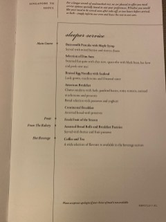 Meal options in Business Class