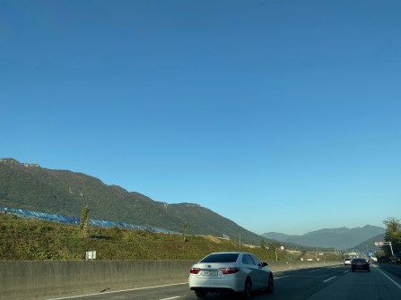 Driving along the highway from Busan to Gyeongju