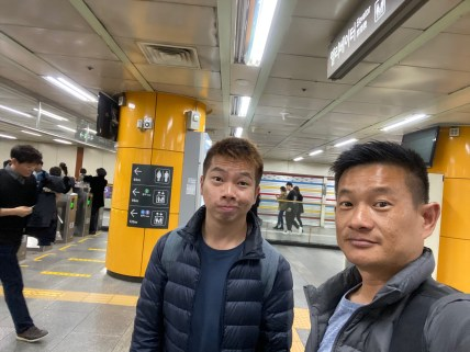Taking a wefie in the subway station in Seoul
