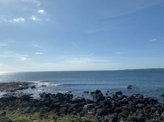 The coastline at Seopjikoji is characterised by volcano rocks
