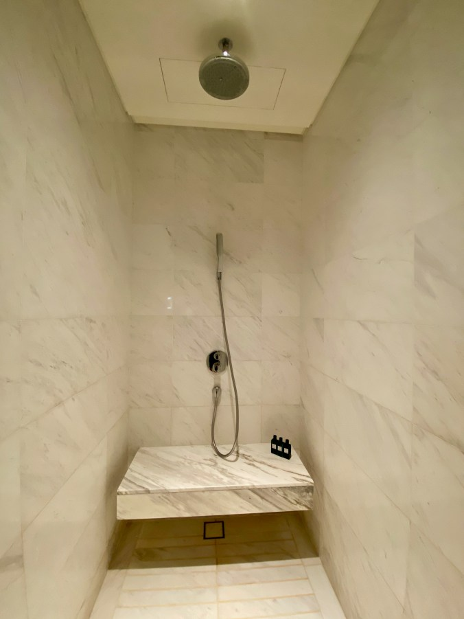 Walk-in shower with regular and rain showerheads