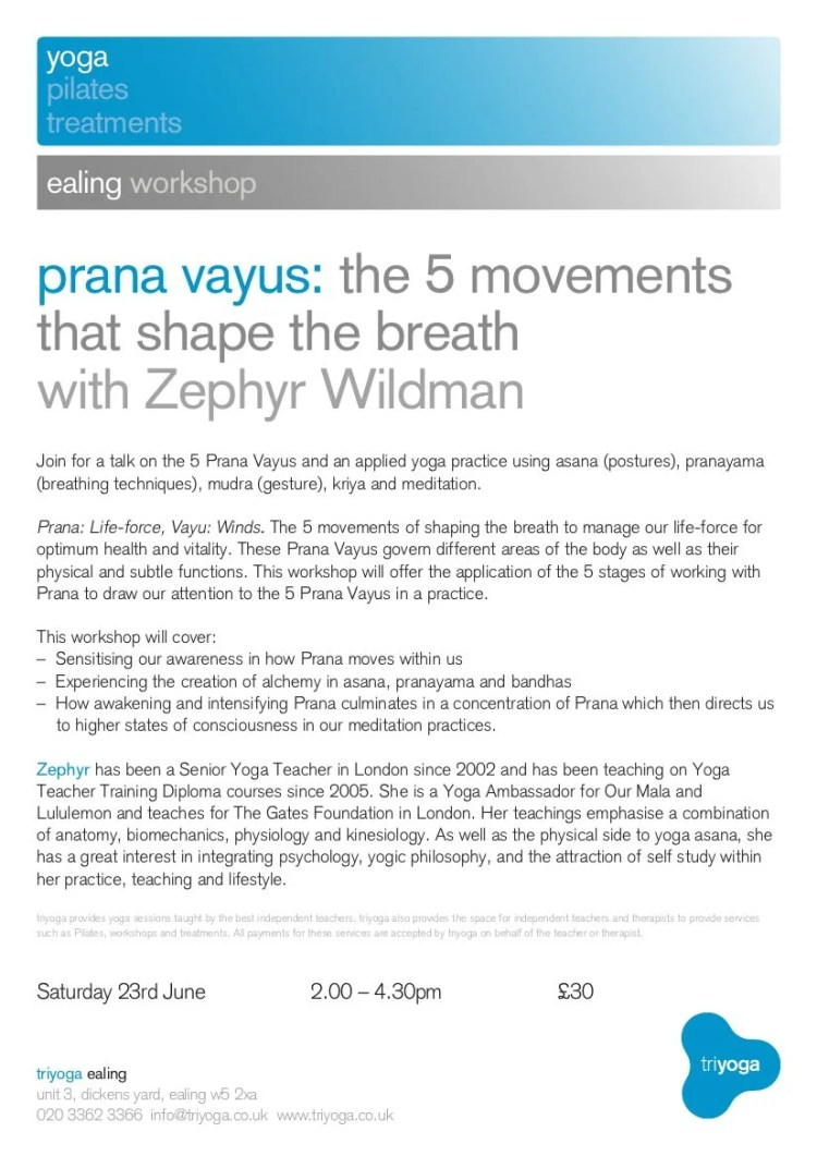 5 prana vayu workshop 23rd june 2 4 30pm zephyr yoga