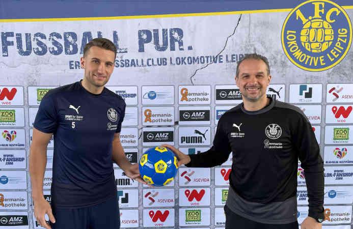 David Urban und Almedin Civa (v.l.) – Foto: 1. FC Lok Leipzig