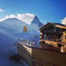 Ski Slope Sun Terraces In Zermatt Zermatterhorn