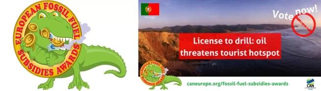 Licença ENI/GALP para furo em Aljezur entre os nomeados a prémio europeu atribuído aos subsídios aos combustíveis fósseis