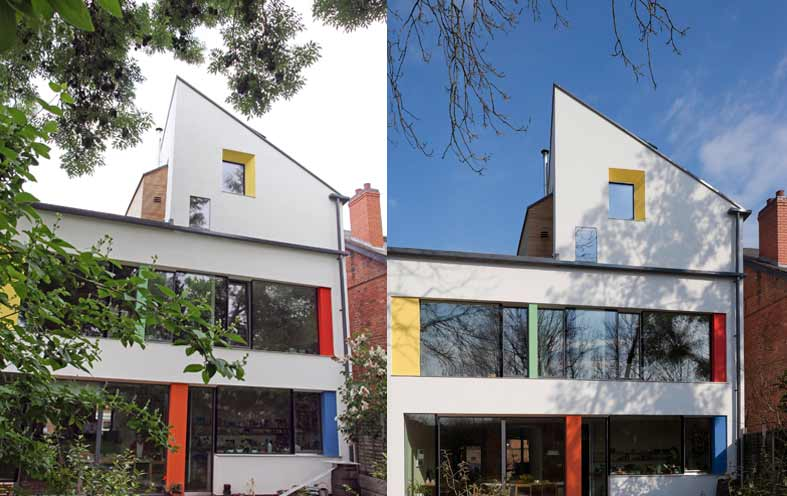 Two photos of the ash tree in zero carbon house Birmingham, one in summer and one in winter