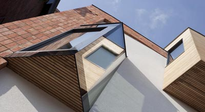 The oriel window of zero carbon house, Birmingham as seen from the front