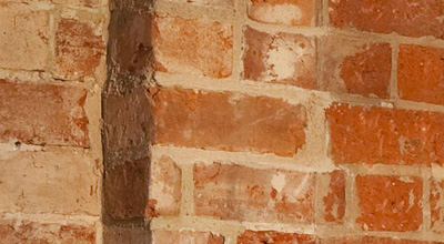 Close up of theo old bricks in zero carbon house, Birmingham