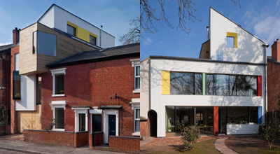 The front and the back of zero carbon house. Birmingham