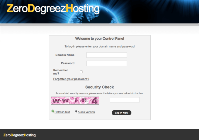 zerodegreezhosting login screen
