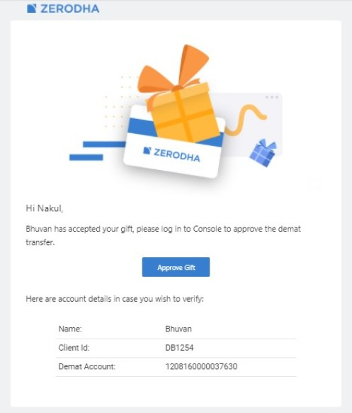 Confirmation Screen: How to gift shares
