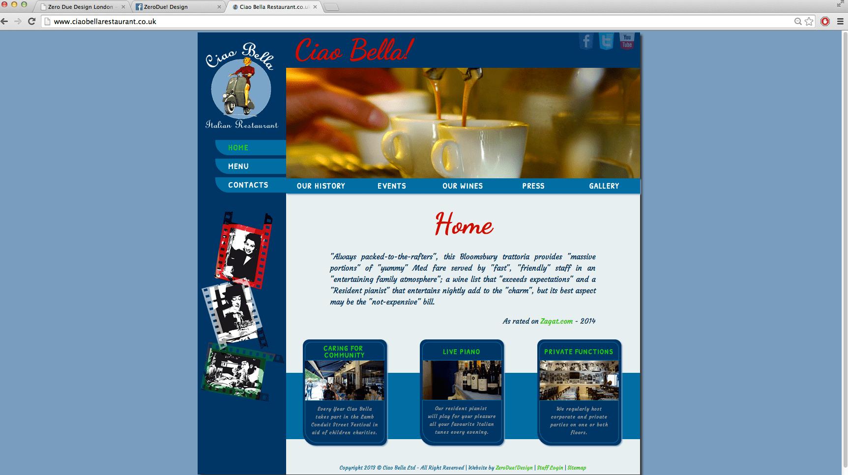 ciao bella restaurant, html