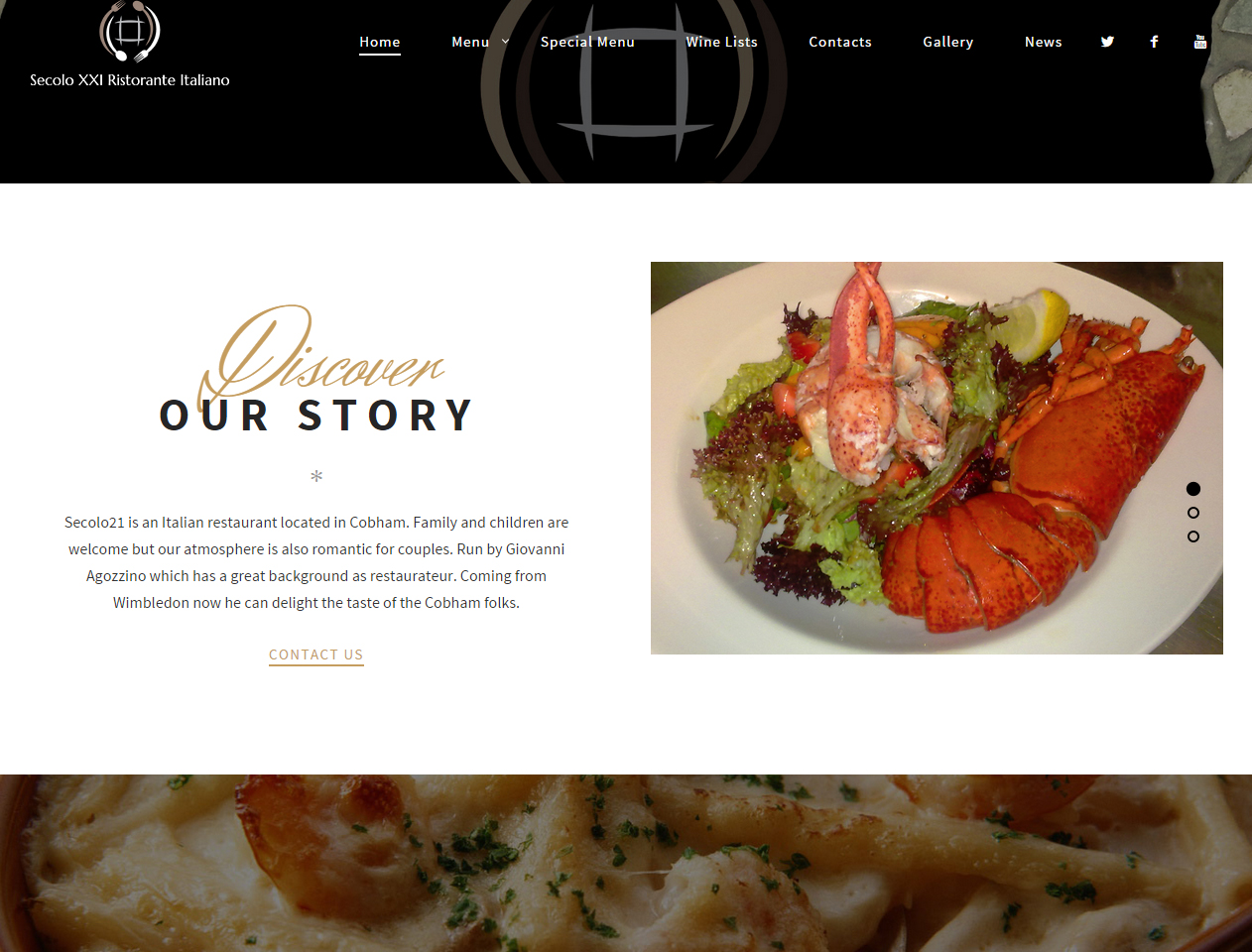 secolo xi italian restaurant zero due design, web design