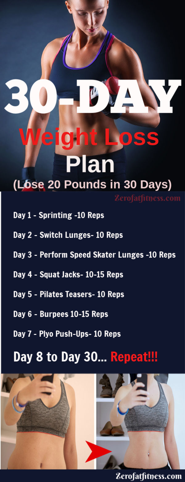 30-Day Weight Loss Plan. Learn here how to lose weight in 30 days at home. Lose 20 Pounds in 30 days with this weight loss workout plan.