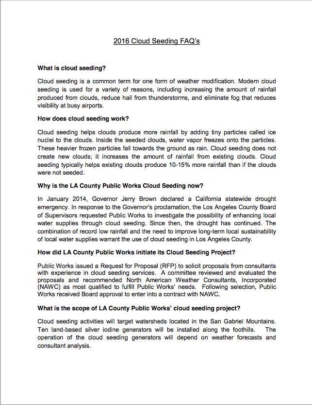 2016 Cloud Seeding FAQ's
