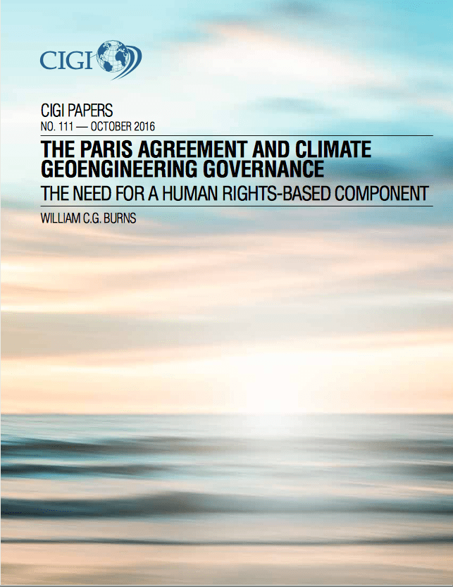 The Paris Agreement and climate Geoengineering Governance