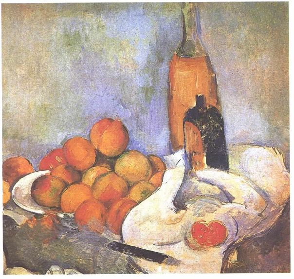 Still life with bottles and apples; Paul Cezanne