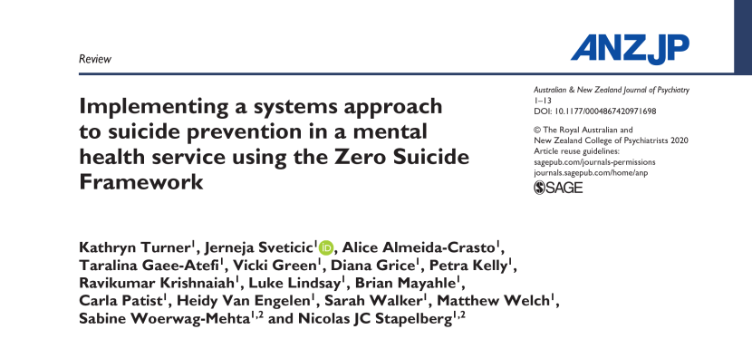 Implementing a systems approach to suicide prevention in a mental health service using the Zero Suicide Framework (2020)