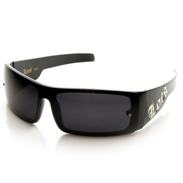 Mens Shield Locs Shades Og Gangsta Loc Dark Lens Sunglasses 8646