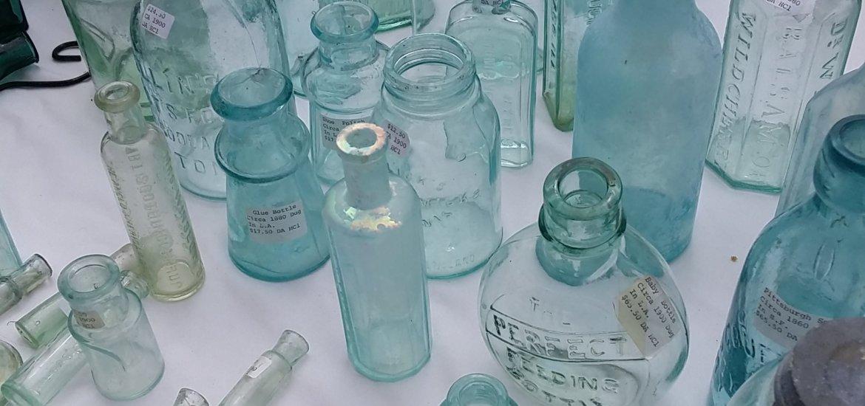 various light green bottles