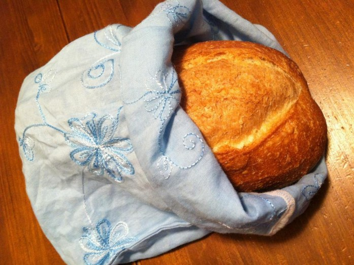 bread purchased in a reusable cloth bag