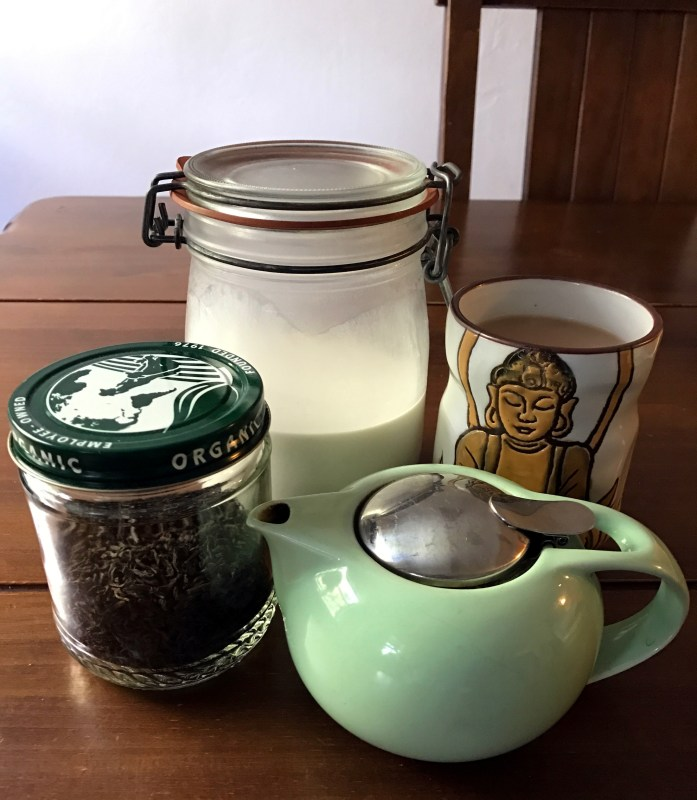 Tea with almond milk