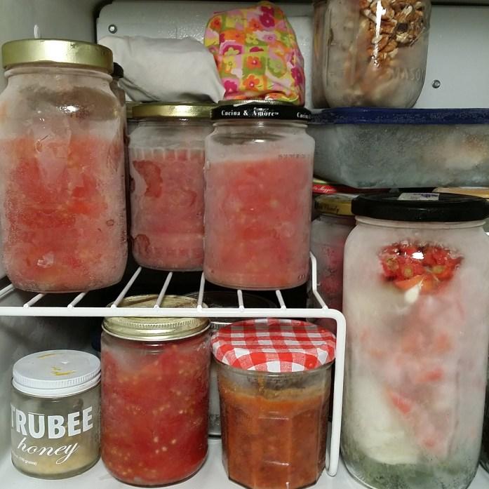 frozen tomatoes in jars