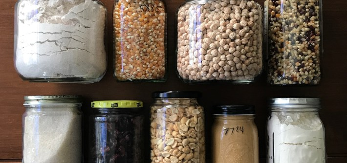 jars filled with pantry staples