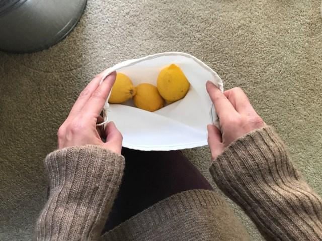 lemons in a cloth produce bag