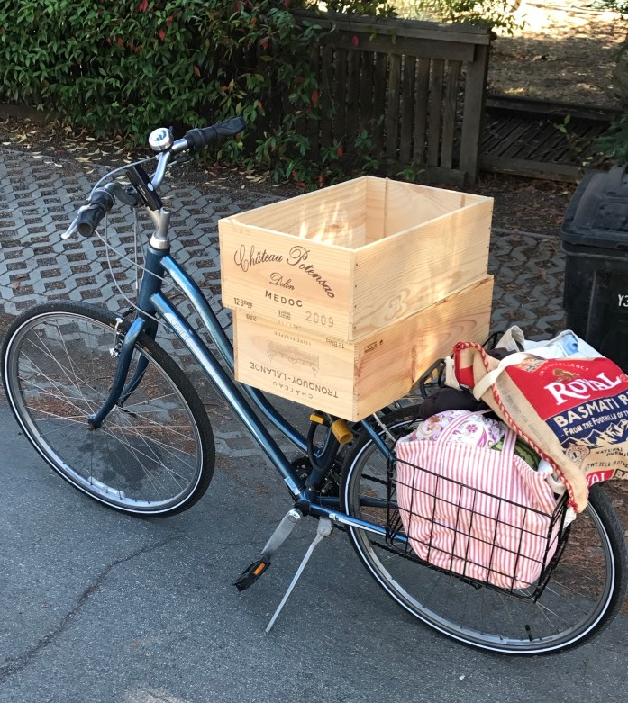 wine crates on bike