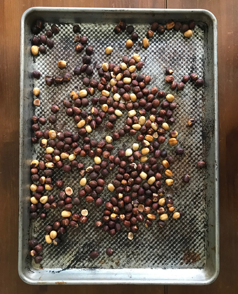 toasted hazelnuts on a cookie sheet