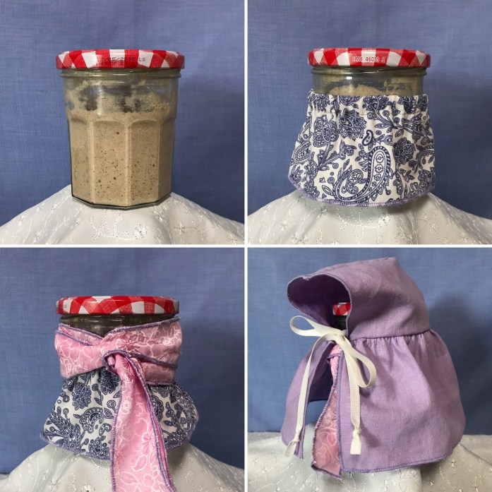 zero waste and plastic free sourdough starter in a jar and wearing a skirt, scarf and cape