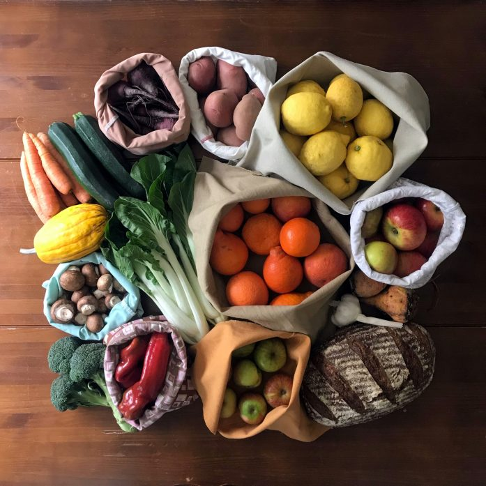 fresh produce in homemade zero waste and plastic free cloth produce bags