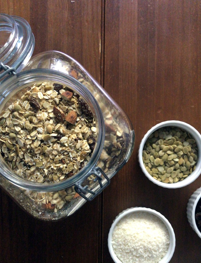 jar of meusli and dry ingredients