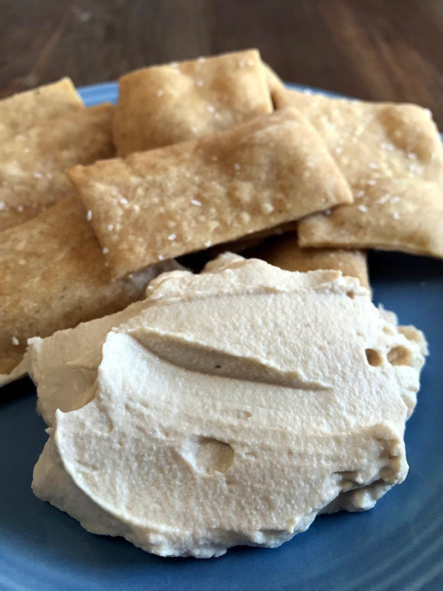 cashew cheese and sourdough crackers