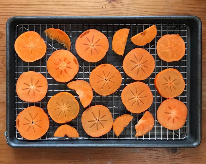 Fuyu persimmon slices spread across a metal rack before dehydrating