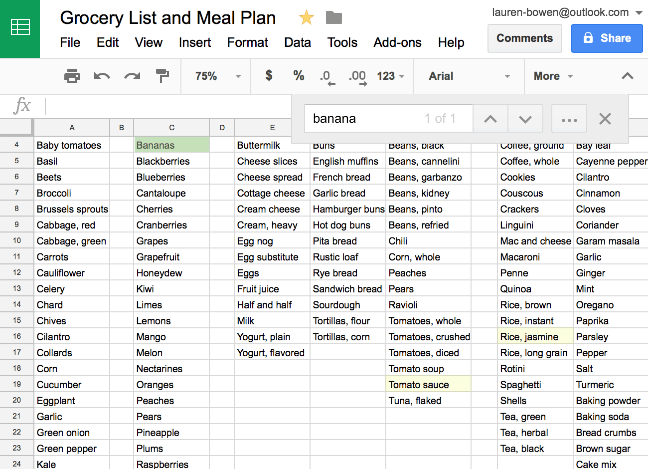 How I Use Sheets For Grocery Shopping And Meal Planning