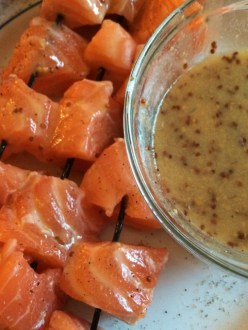 Maple Mustard Salmon Skewars