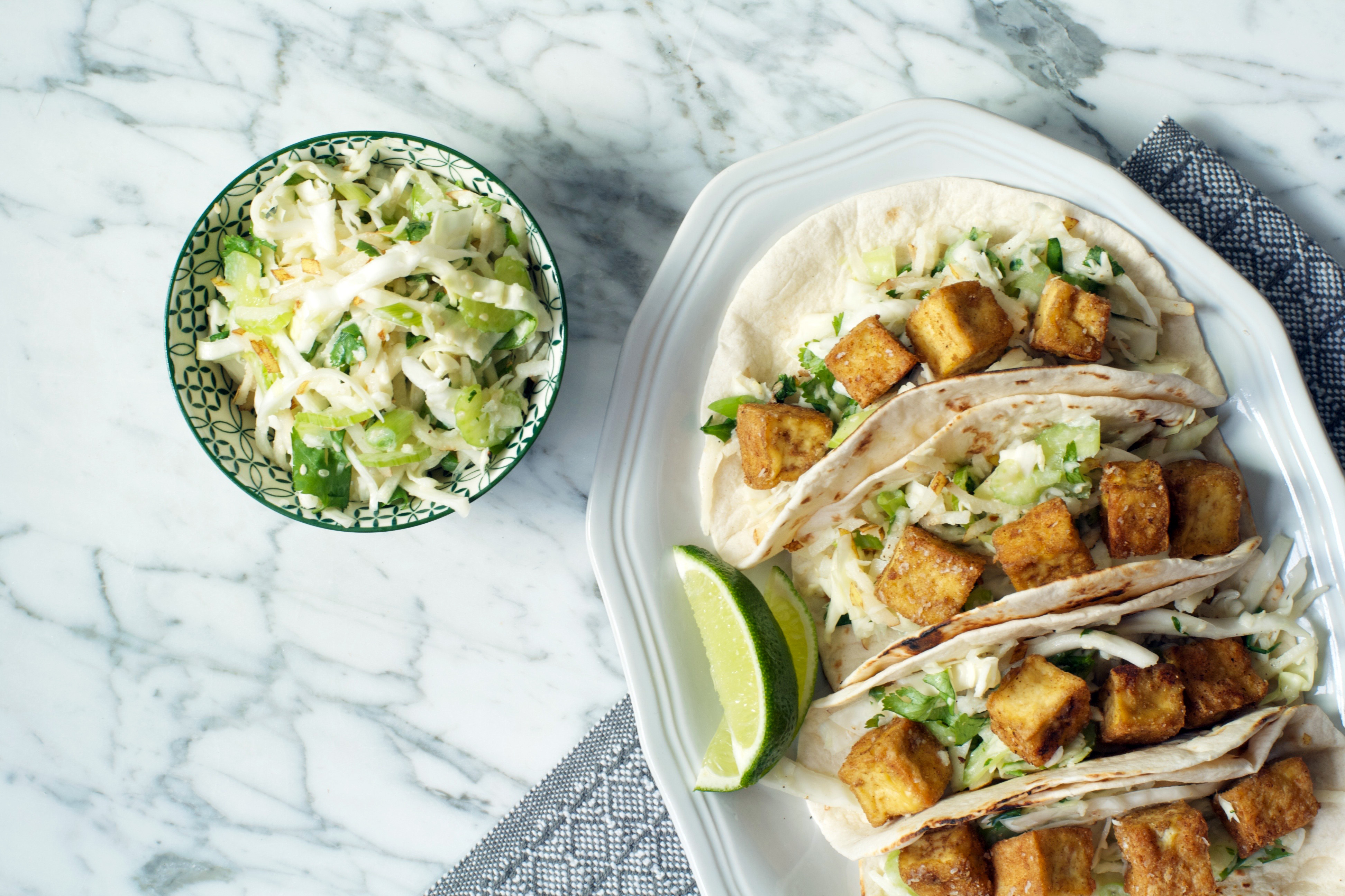 Crispy Tofu Tacos with Asian Pear Slaw | Zestful Kitchen