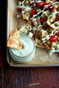 Greek Nachos with Feta-Yogurt Sauce   Zestful Kitchen