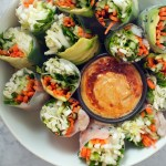 Vietnamese Spring Rolls with Spicy Almond Dipping Sauce | Zestful Kitchen