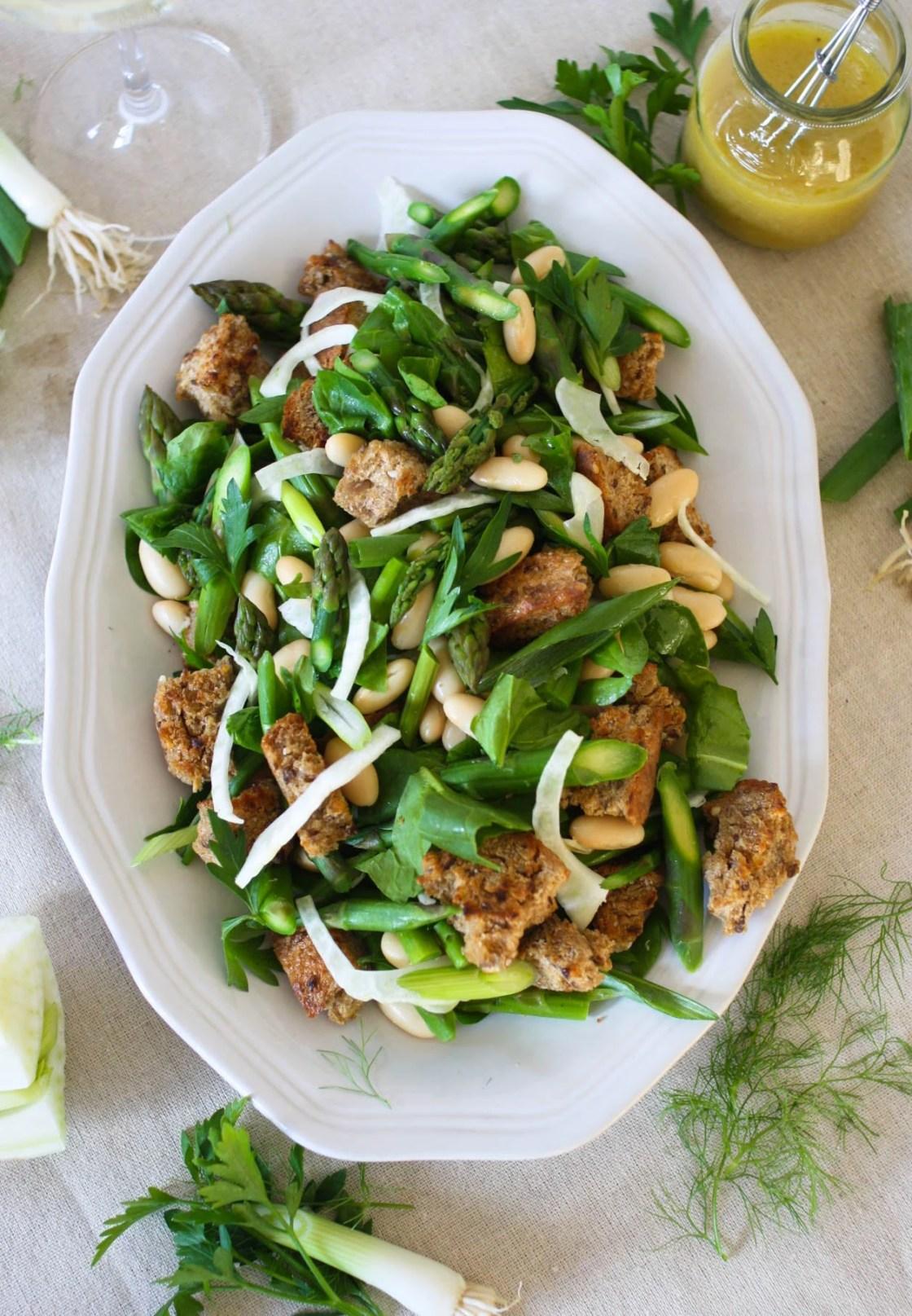 Spring Asparagus Panzanella Salad | Zestful Kitchen